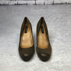 Ann Taylor Embossed Leather Wedges Heels shoes